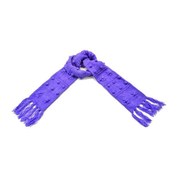 Wełniany szalik z polarową podszewką Violet Dots