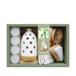 Zestaw relaksacyjny - świecznik, świeczki, szczotki, rękawica Wood