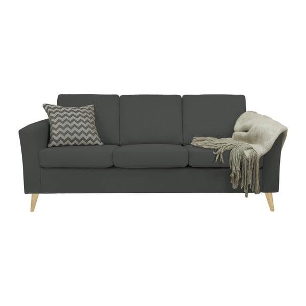Ciemnoszara sofa 3-osobowa z naturalnymi nogami Helga Interiors Alex