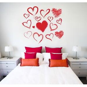 Naklejka na ścianę Malowane serca, 60x90 cm