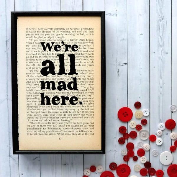 Plakat   w drewnianej ramie Alice in Wonderland All Mad Here