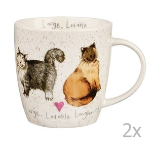 Zestaw 2 kubków Churchill China Loveable Longhairs, 400 ml