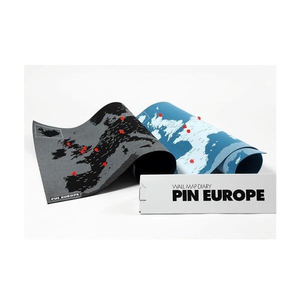Niebieska mapa ścienna Europy Palomar Pin World, 100x80cm