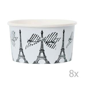 Zestaw 8 kubeczków papierowych na lody z łyżeczkami Miss Étoile Paris