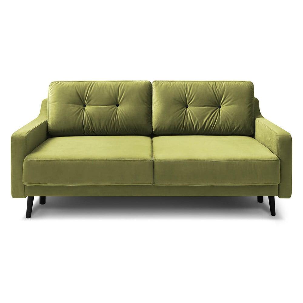 Jasnozielona aksamitna rozkładana sofa 3-osobowa Bobochic Paris Torp