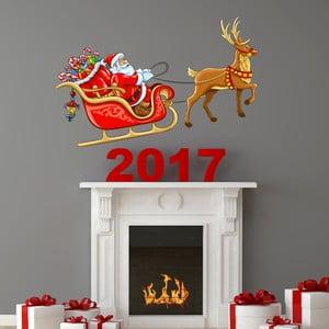 Naklejka świąteczna Ambiance Santa Claus Sleigh