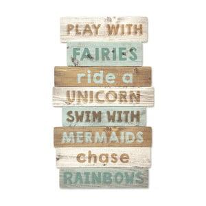 Drewniana dekoracja ścienna Tanuki Play With Fairies, 30x48 cm