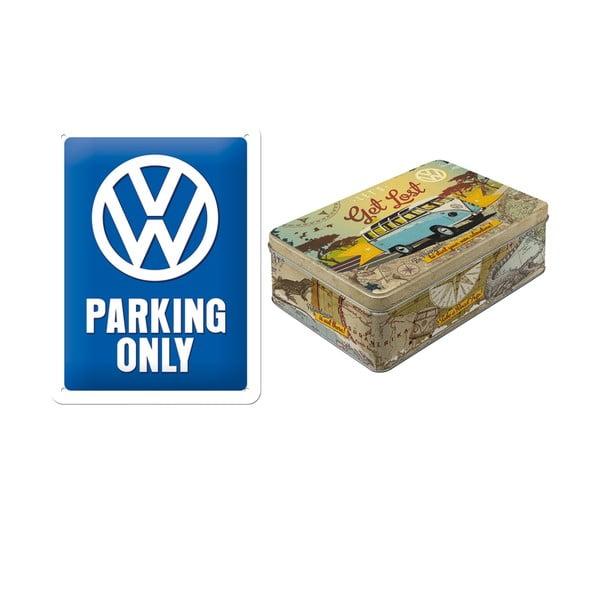 Zestaw blaszana tablica i pojemnik Parking
