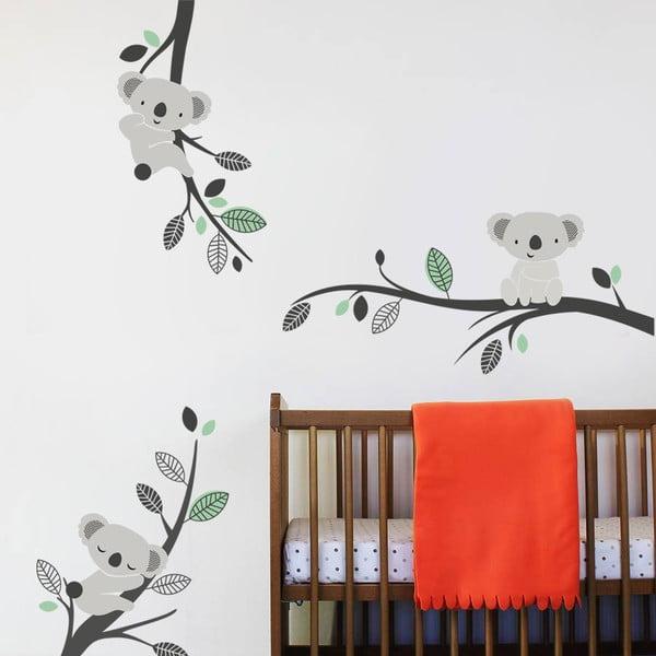 Naklejka ścienna Koale i gałęzie, mentolowa, 2 arkusze, 70x50 cm