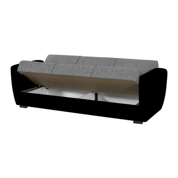 Szaro-czarna trzyosobowa sofa rozkładana ze schowkiem Esidra Comfort