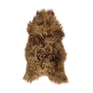 Brązowa skóra owcza z długim włosiem Ptelja, 110x60cm