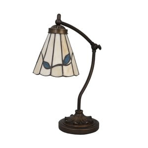 Lampa stołowa Tiffany Blue Leaves