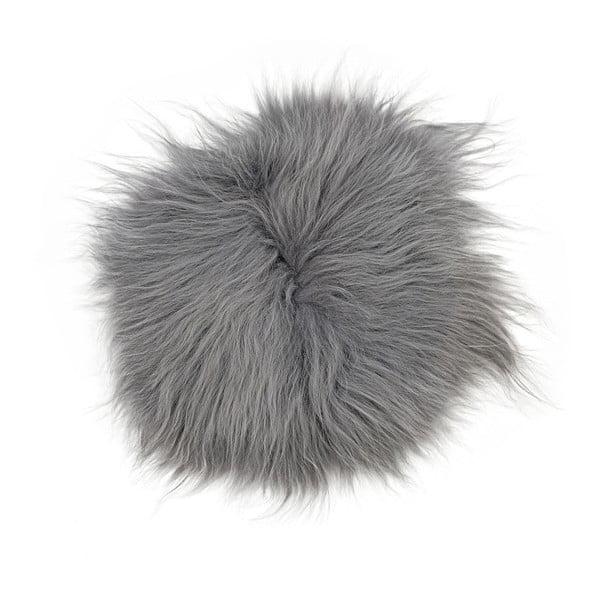 Szara poduszka futrzana do siedzenia z długim włosiem, Ø 35 cm