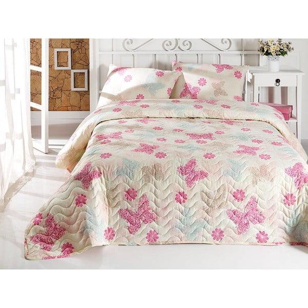 Pikowana narzuta i 2 poszewki na poduszki Papillon Light Cream, 160x220cm