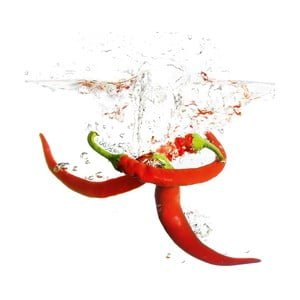 Szklany obraz Splashing Chili Pepper, 20x20 cm