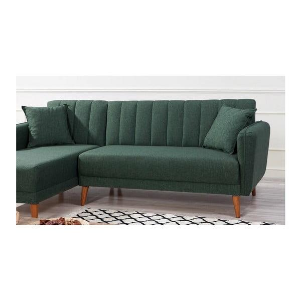 Ciemnozielona sofa rozkładana Rosalia, lewostronna