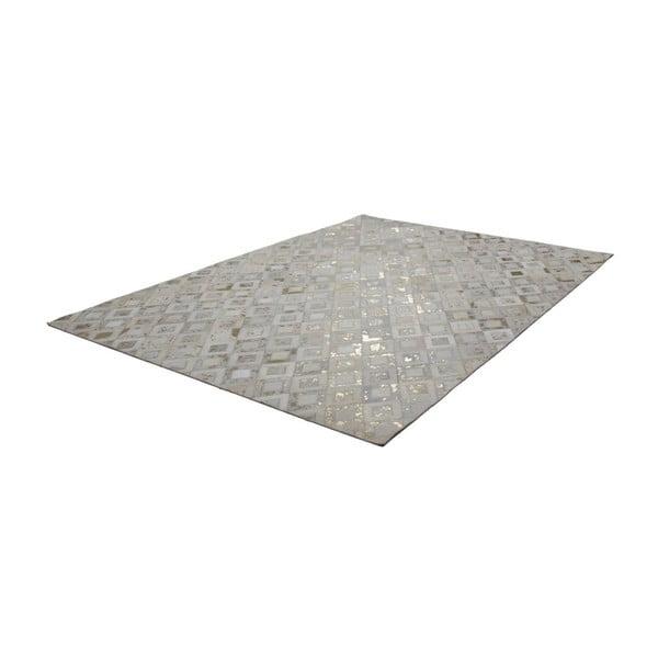 Kremowo-złoty skórzany dywan Dazzle, 80x150cm