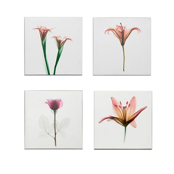 Zestaw 4 obrazów na drewnie Flowers, 40x40 cm