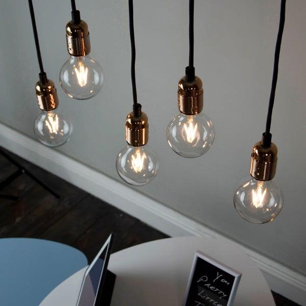 Lampa wisząca z 5 czarnymi kablami i oprawą żarówki w miedzianym kolorze Bulb Attack Uno Cassie