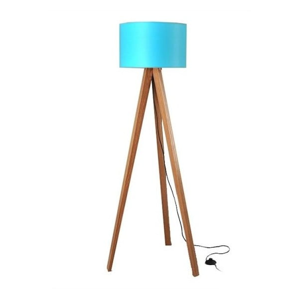 Lampa stojąca Tripod Blue/Walnut