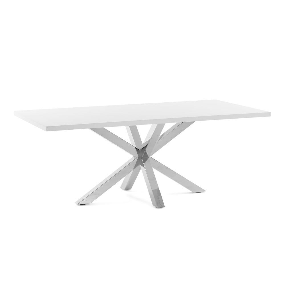 Biały stół z konstrukcją ze stali nierdzewnej La Forma Arya, 160 x 100 cm