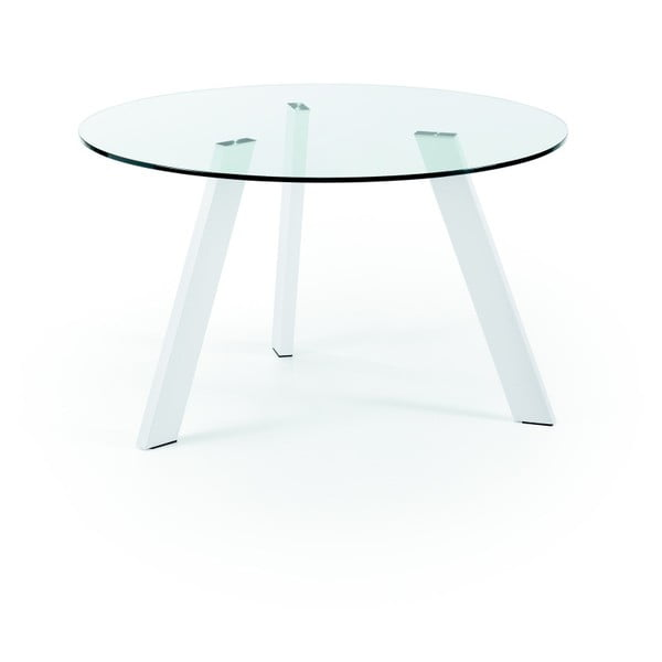 Stół z białymi nogami La Forma Columbia, średnica 130 cm