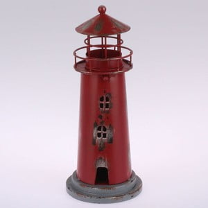 Metalowy lampion wiszący Red Lighthouse, 22 cm