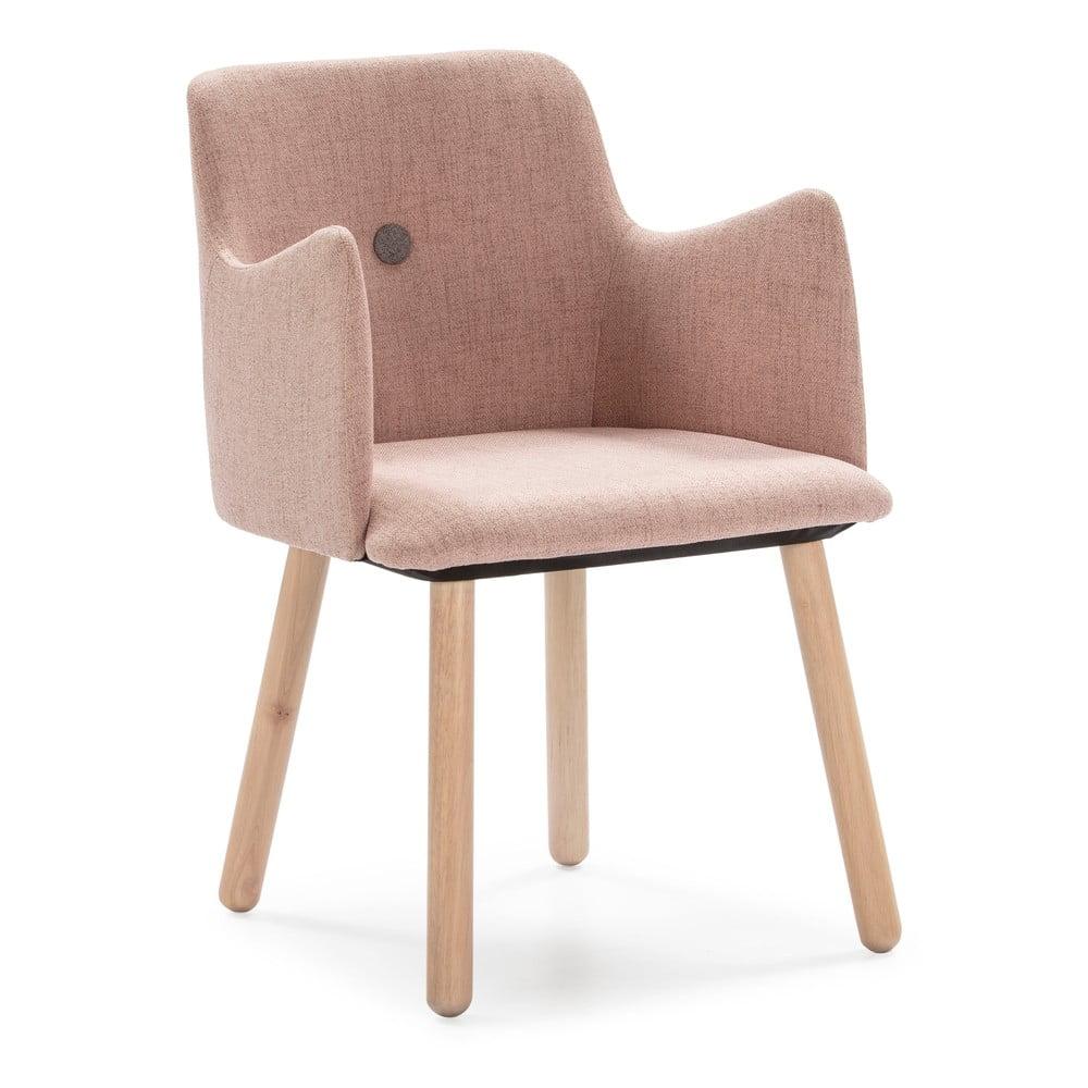 Różowe krzesło z nogami z drewna kauczukowca Marckeric Aruba