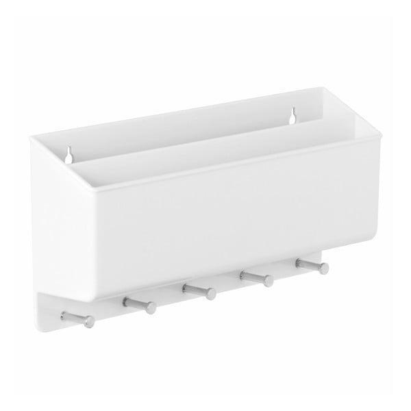 Biała półka z wieszakami do przedpokoju InterDesign Twillo