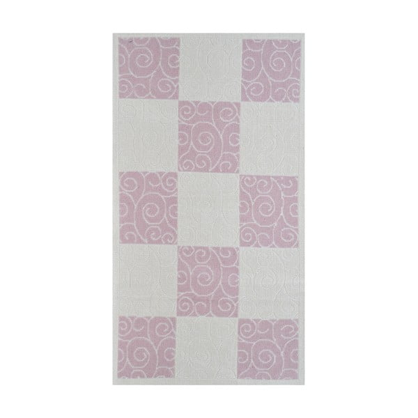 Pudrowy wytrzymały dywan Patchwork, 80x200 cm