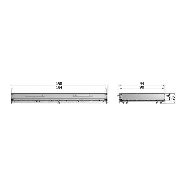 Stalowo-szara szuflada pod łóżko Dennis 90x200 cm