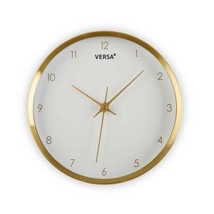 Biały zegar w ramie w kolorze złota Versa Runna, ⌀ 25,8 cm