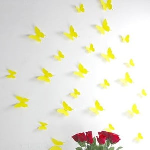 Zestaw 12 naklejek 3D Ambiance Yellow Butterflies