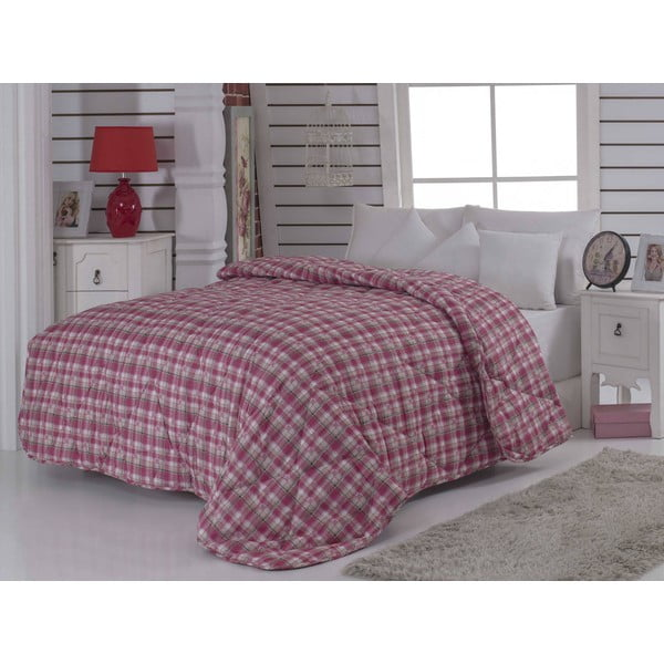 Narzuta pikowana na łóżko dwuosobowe Ekose Red, 195x215 cm