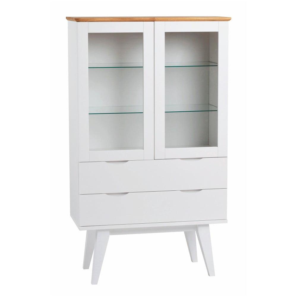 Biała witryna z drewna dębowego Rowico Cerberus