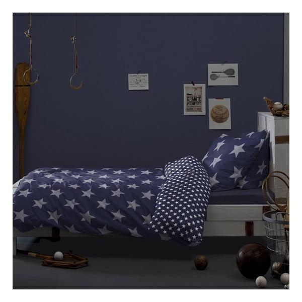 Ciemnoniebieska bawełniana pościel jednoosobowa Damai Starville Peacoat, 200x140cm