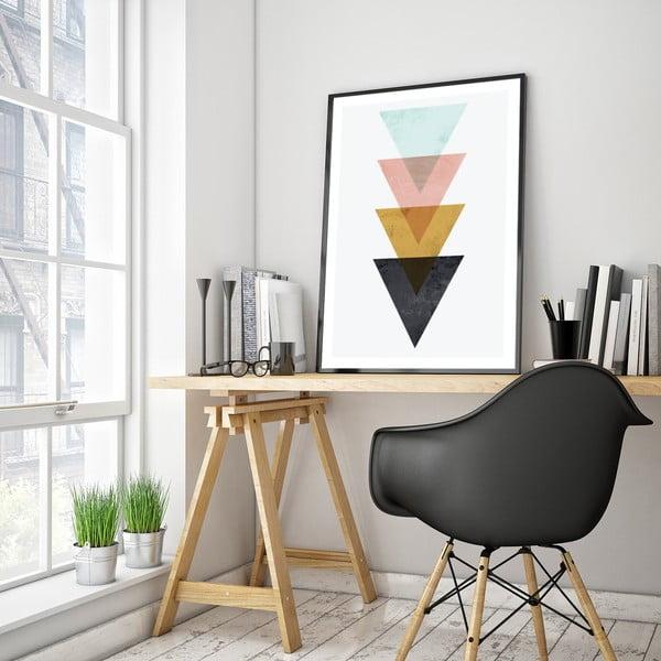 Plakat w drewnianej ramie Triangles, 38x28 cm