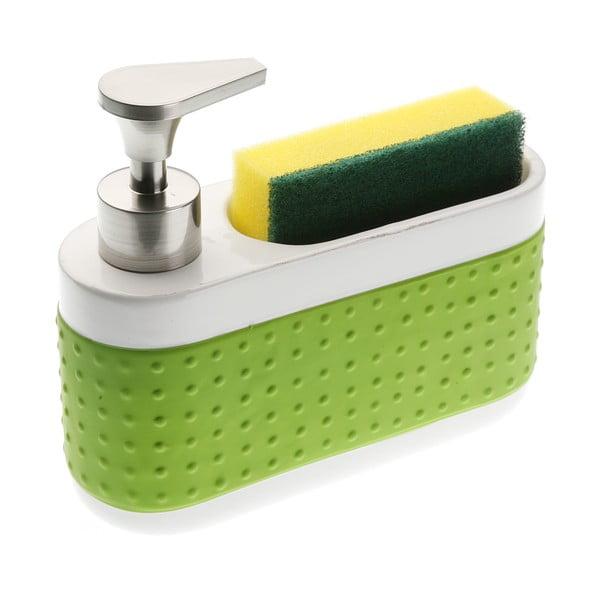 Biało-zielony dozownik do mydła i stojak na gąbkę Versa Scourer