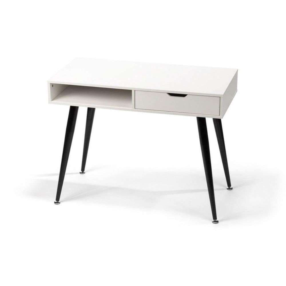 Białe biurko z czarną metalową konstrukcją loomi.design Diego, 100x50cm