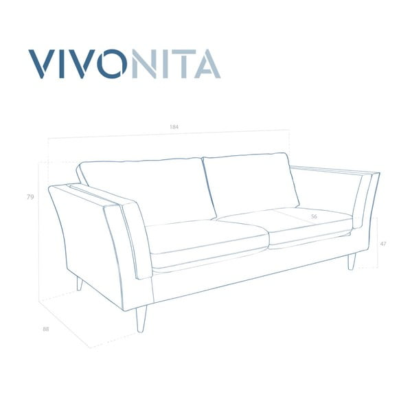 Turkusowa sofa 2-osobowa Vivonita Connor