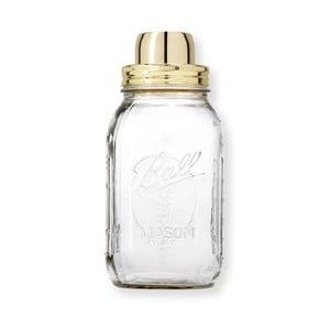 Szklany shaker ze złotą zakrętką W&P Design The Mason