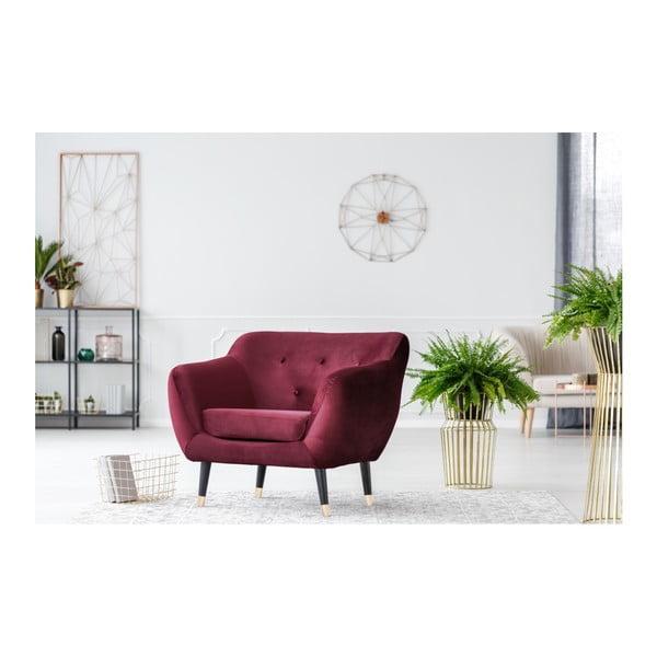 Bordowy fotel z czarnymi nogami Mazzini Sofas Amelie