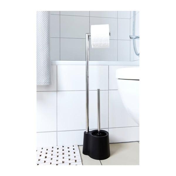 Czarna szczotka do WC z uchwytem na papier toaletowy Wenko Avola