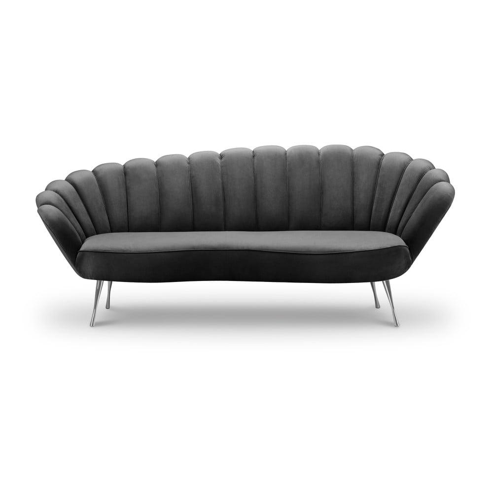 Ciemnoszara asymetryczna sofa z aksamitnym obiciem Interieurs 86 Varenne, 224 cm
