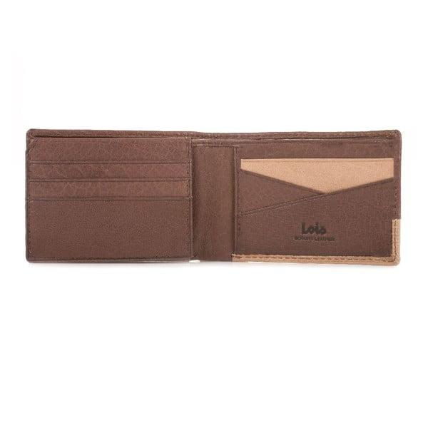 Skórzany portfel Lois Double Brown, 11x7,5 cm