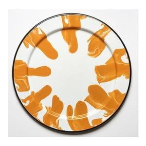Pomarańczowo-biała taca emaliowana Kapka Little Color, Ø32cm