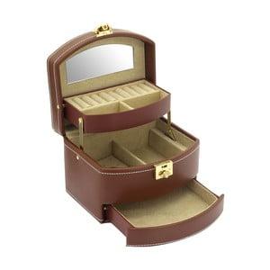 Brązowa szkatułka na biżuterię Friedrich Lederwaren Cordoba, 16x13 cm