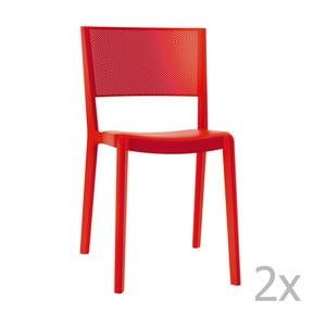 Zestaw 2 czerwonych krzeseł ogrodowych Resol spot