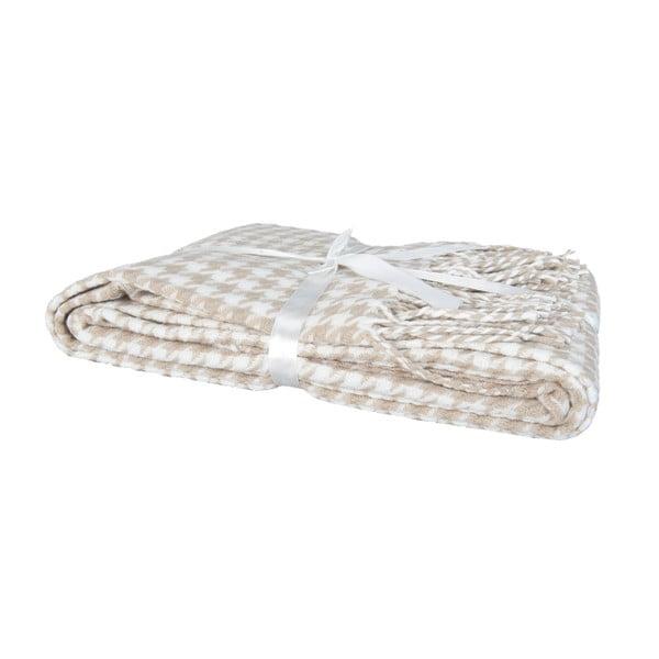 Brązowo-biały pled Clayre & Eef Dots, 130x150 cm