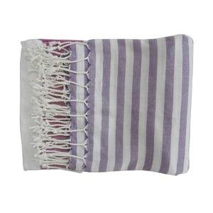 Fioletowy ręcznie tkany ręcznik z bawełny premium Melis,100x180 cm